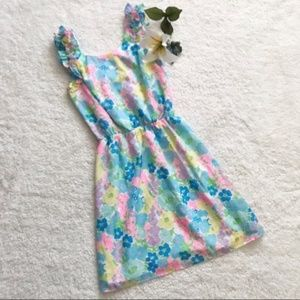 Lilly Pulitzer Floral Blue Party Dress Mini K18